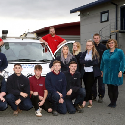 Housing Plus Group chief executive Sarah Boden is pictured with some of the Group's apprentices.